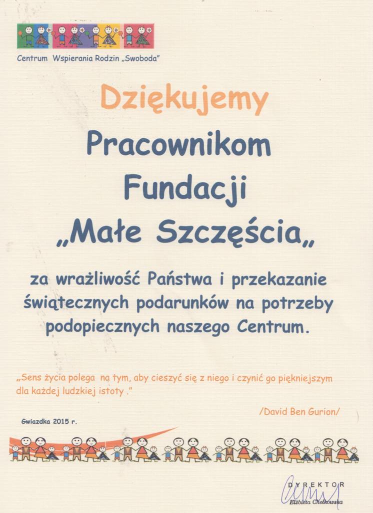 Podziekowania 'Centrum Wspierania Rodzin - SWOBODA'